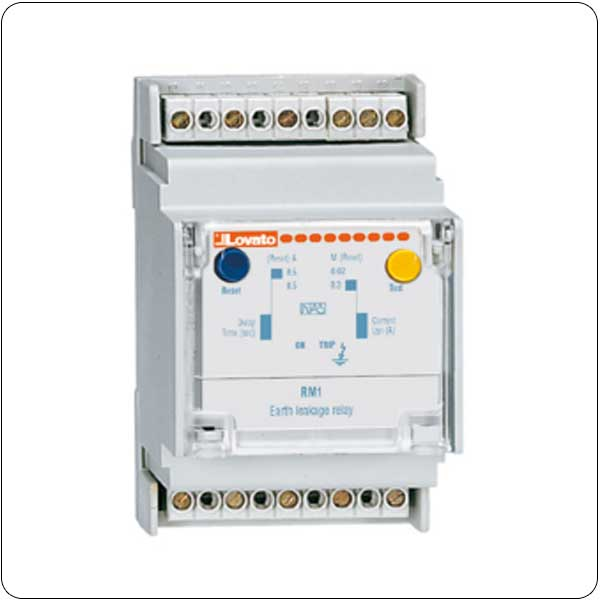 Modular, 35mm DIN (IEC/EN 60715) rail mounting. External CT. Fixed tripping set point and time