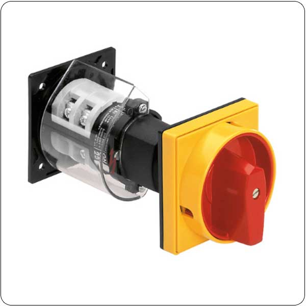 O88-O98-O99 version, rear mount, door-coupling and padlock system, red/yellow. ON/OFF switches