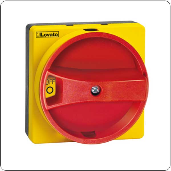 Door coupling handles, padlockable. Red/yellow, rotating.