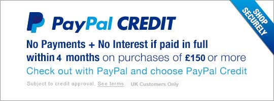 We now offer paypal credit on purchases over £150 when paid with paypal